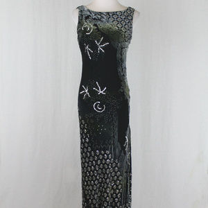 Vintage Lucy's Silk Beaded Velvet Gown + Wrap